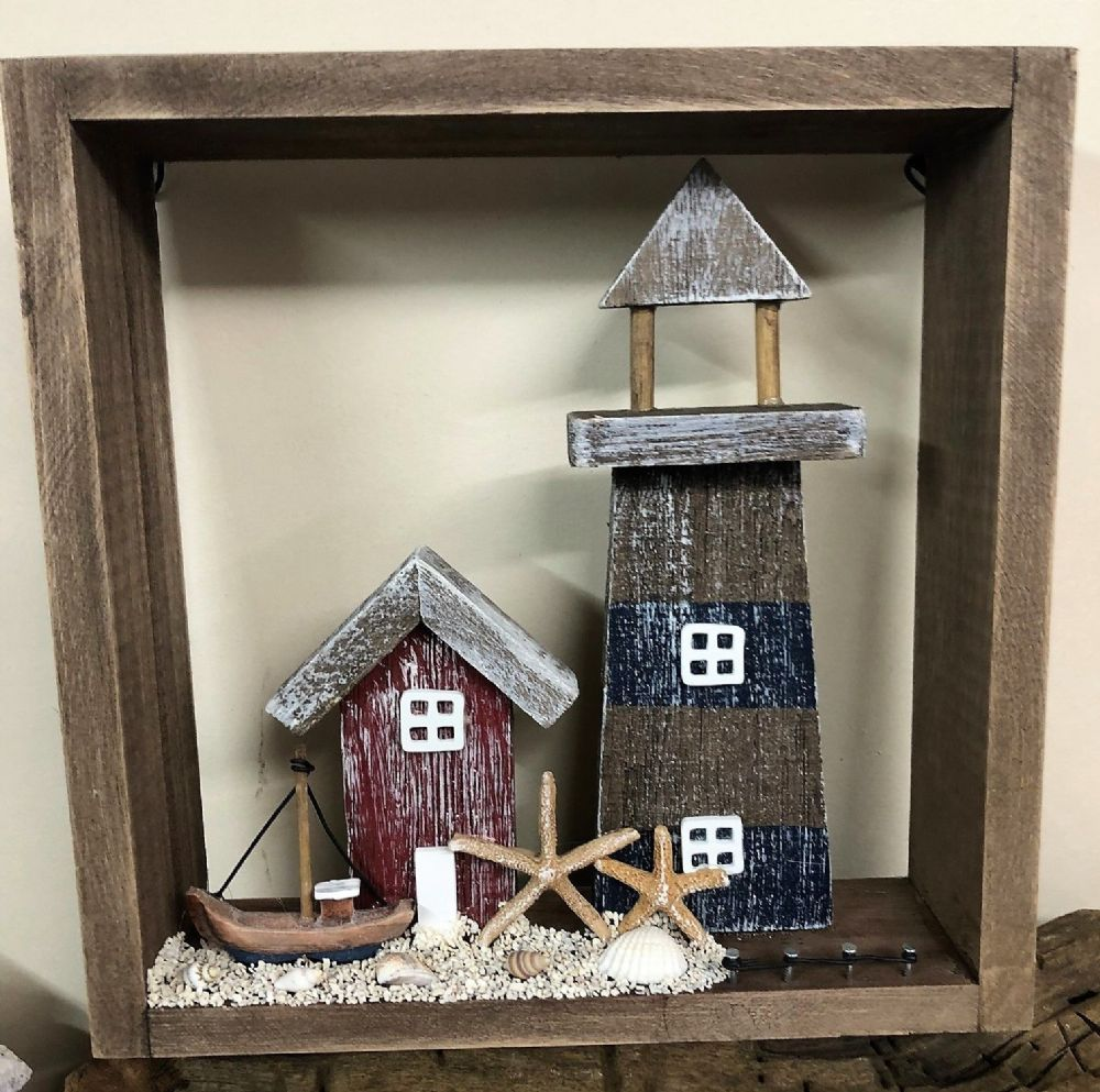 Lighthouse Seaside Beach Setting in Wooden Distressed Box Frame 22cm